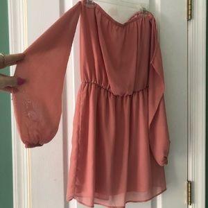 Tobi Dresses - Peach off-the-shoulder dress